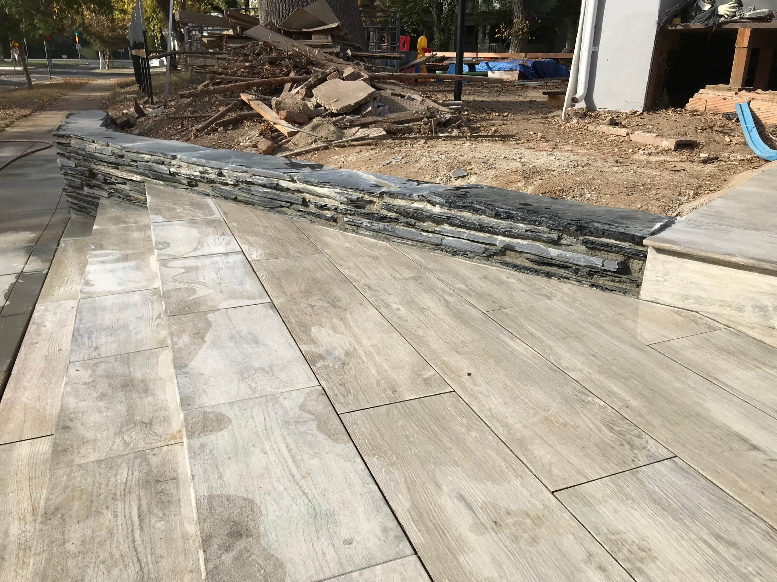 The photo shows the finished concrete work in Fullerton.