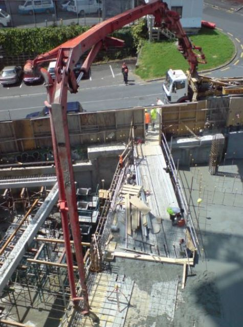 A picture of concrete pouring in Fullerton.