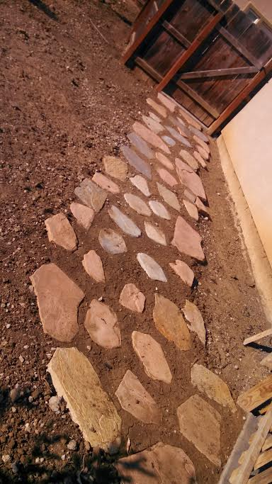 An image shows stone pavers in Fullerton.