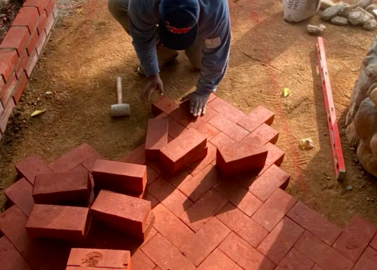 this image shows brick pavers in Fullerton, California
