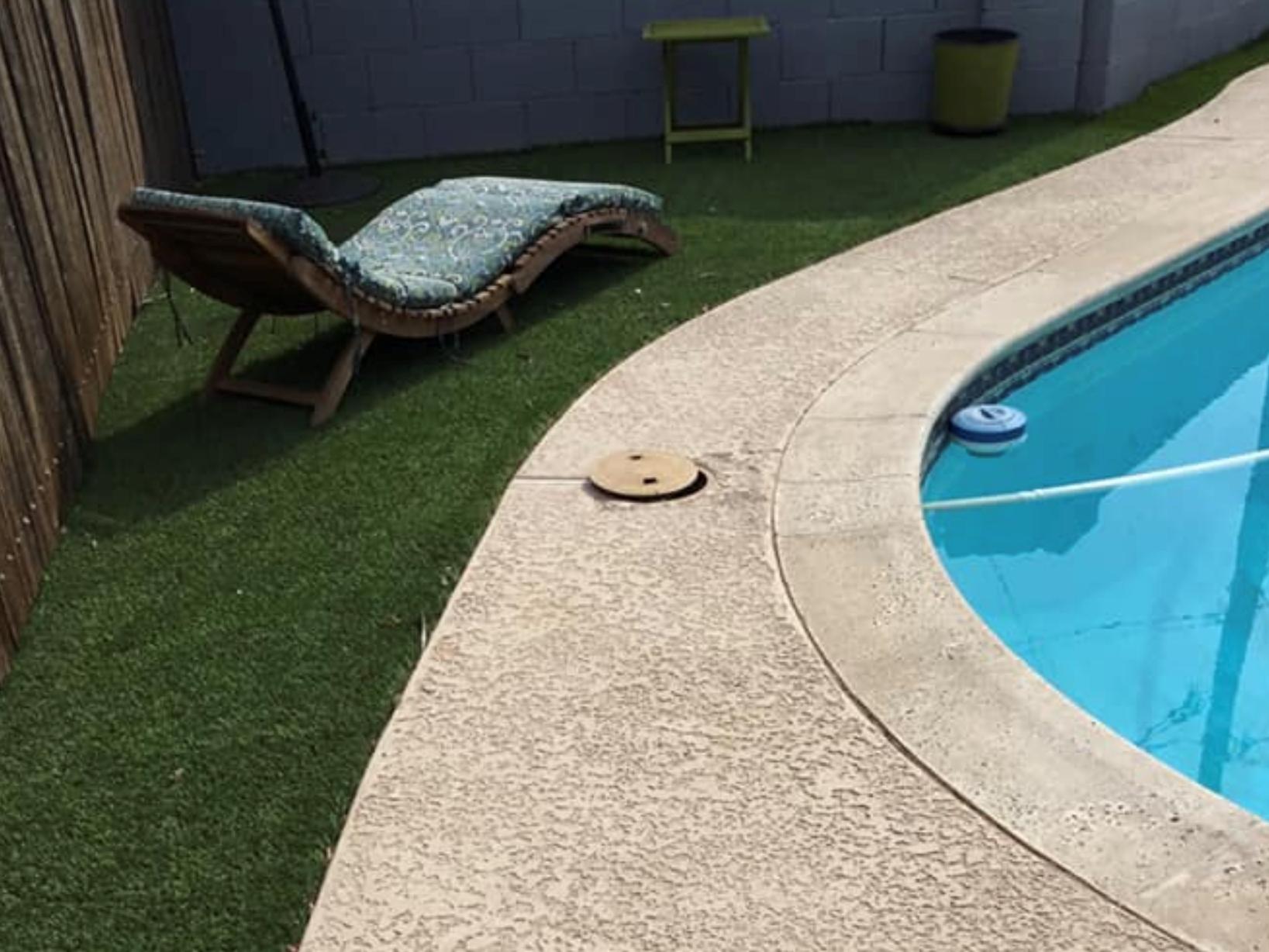 this image shows pool deck in Fullerton, California