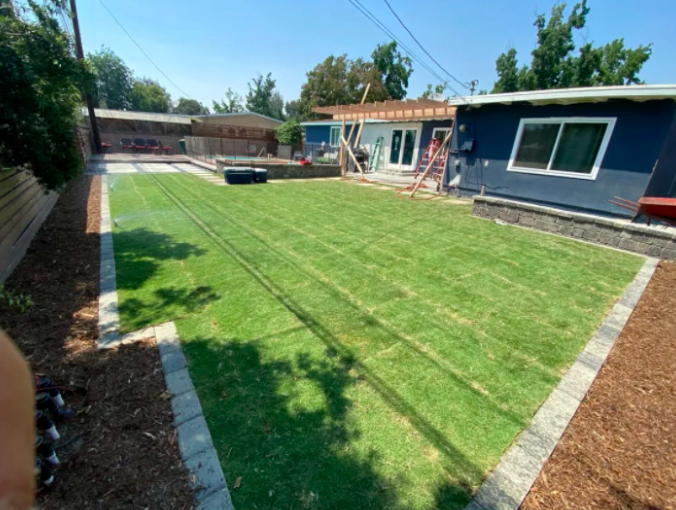 this image shows turf installation in Fullerton, California